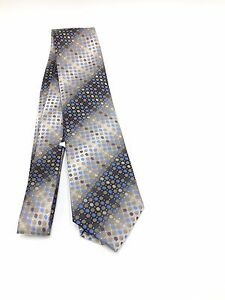 $95 John Ashford Men Blue Brown White Polka Dot Necktie Classic Neck Tie 58x3.5