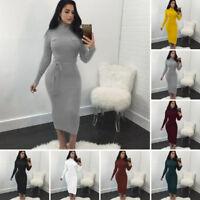 Women's Autumn Winter Long Sleeve Jumper Tops Knitted Sweater Bodycon Knee Dress