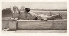 "Nice Lawrence SIGNED ALMA-TADEMA 1800s Etching ""The Silent Counselor"" FRAMED COA"