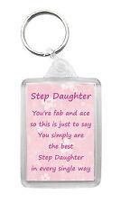 STEP DAUGHTER Keyring Keyfob Poem Birthday Christmas Fun Novelty Gift Keepsake