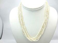 14k Oro Amarillo Multihilos Collar de Perlas Agua Dulce Barroco 5 Hilos 44.5cm