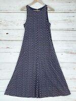 Ann Taylor Womens Knit Midi Dress Size Small Navy Blue Tan Floral Linen Blend
