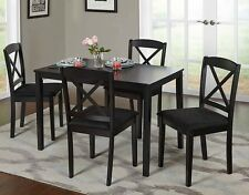 Farmhouse Dining Table Set Small Wooden Black Kitchen Dinette 5 piece 4 Chairs