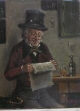 Richard Harley (BRITISH 1836 - 1884) Reading  Paper, signed, ORIGINAL GUARANTEED