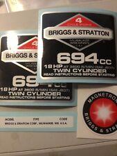 Briggs & Stratton 18-hp Sticker Decal Set 1986-90s W/ Magnetron Welder