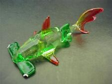 Glass HAMMERHEAD SHARK Green & Red Painted Glass Ornament Glass Animal Gift