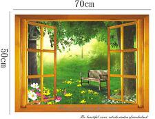 Large 3D Garden View Window Film Wall Stickers art Mural Wallpaper Nursery