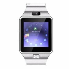 W-09 1.54'Touch Screen Watch Phone white Unlock Quad band Bluetooth cell Phone