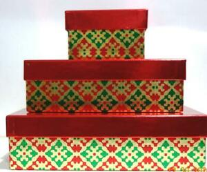 3-Christmas Nesting Gift Boxes Red Green Print Red Top & Packing Gifts Holiday