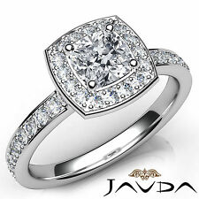 Halo Pave Set Cushion Diamond Engagement Ring GIA F SI1 18k White Gold 1.17Ct
