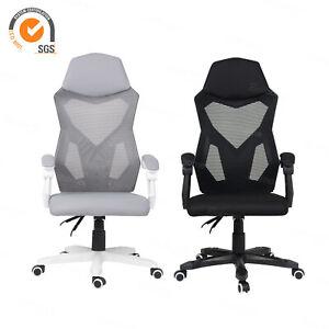 High-Back Ergonomic Mesh Office Chair Padded Arm&Headrest Comfy Swivel Chair UK