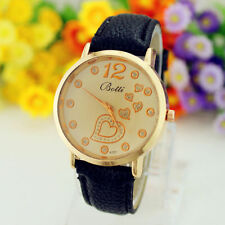 Reloj De Cuero Negro Botti con corazones Rhinestone del oro en bolsa de terciopelo