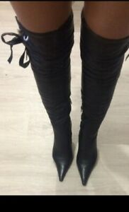 Loriblu Thigh-High Sexy Boots Black leather over knee Stiletto heel Fur sz 7 US