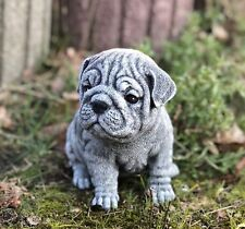 Steinfigur Bulldogge Welpe Frostfest Gartenfigur Deko Steinguss Hund wetterfest