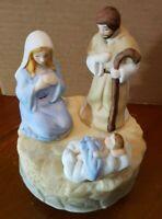Ceramic Nativity Scene MUSIC BOX porcelain plays Silent Night and Rotates