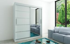 Wardrobe VERONA 2 White Matt Sliding Doors Hanging Rail Shelves 6 Dimensions New
