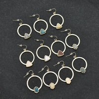 Women Druzy Triangle Circle Earrings Ear Decor Hexagon Pendant Jewelry Accessory