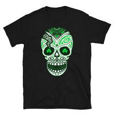 St. Patrick's Day Of The Dead Sugar Skull Shamrock Eyes T-Shirt | Unisex