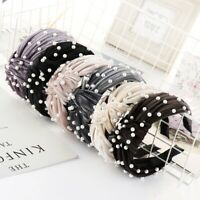 Women Girls Headband Pearl Beaded Wide Knot Headband Hair Bands Accessories