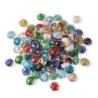 200 pcs Flat Round Handmade Gold Sand Lampwork Beads Crafts 12x8.5mm hole 2mm
