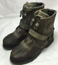 Ralph Lauren Polo Conquest Hi lll Leather Men Olive Green Ankle Boots 8D