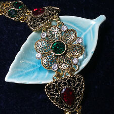 "Vintage Red Ruby Green Emerald Crystal Flower Link Women Bracelet 7"" to 9"""