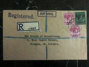 1947 Penang Malaya Registered Cover To School Of Accountancy Glasgow Scotland