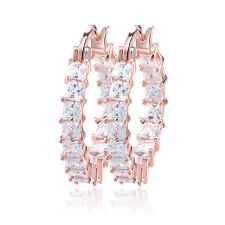 Big Hoop Cubic Zirconia Earrings Gold/Rose Gold/Platinum Plated Women Jewelry