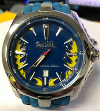 Mens Von Dutch Angel Swiss Made 2824 Automatic 45mm Blue Rubber Flame Watch