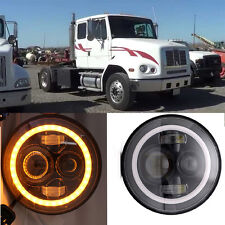 2x 7 inch Round LED Headlights amber turn signal funtion For Freightliner FL112