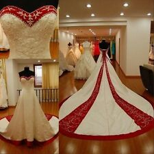 Vintage Red And White ivory Embroider Wedding Dresses Sweetheart Bridal Gowns