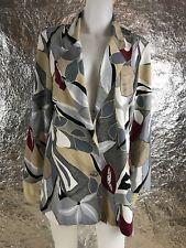 Women's Vintage 1980's/1990's Gray & Beige Floral Printed Blazer Jacket, Size M