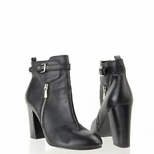 Women's 14th & Union Tracey Shoes Black Leather Ankle Booties Size 9 M