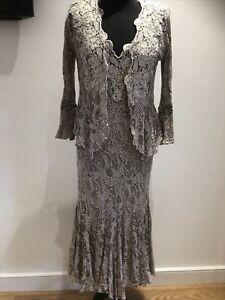ANN BALON Italian Collection Azalea Size M 12 14 Lace Cappuccino Jacket & Dress