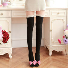 Warm Sexy Women Lace Socks Cable Knit Ladies Over Knee High Tight Long Hosiery