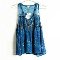 NEW Urban Outfitters Ecote Blue Boho Flowy Printed Tank Top Size M