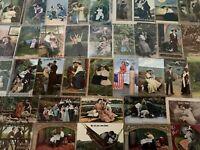Huge Lot of~Romantic~Vintage Antique~ Postcards -Men Ladies-People-Romance-b250