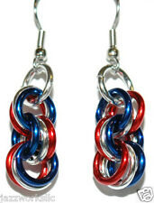 PATRIOTIC RED WHITE & BLUE CHAIN MAIL MAILLE DANGLE EARRINGS (D294)