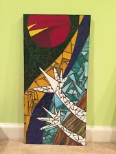 Sun Rise.  Mosaic Wall Hanging Abstract Art Hand Crafted Stained Glass