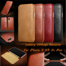 ICARER Thin Vintage Case Genuine Leather Flip Cover For iPhone X XR XS Max 7 8 +