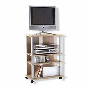 Meuble TV Panneaux Mélaminiques Chêne 65 x 40 x 85 cm Roulettes Compartiments