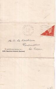 GUERNSEY WARTIME 1941 BROKEN O VARIETY 2d CENTENARY BISECT ON RECEIPT PU