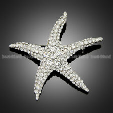 Gorgeous Silver Plated Full Rhinestone Starfish Wedding Party Jewelry Brooch Pin