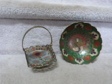 """2 Vintage Asian Solid Brass Peacock Floral Relief Cloisonne Bowl and Basket 6"""""""