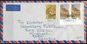 Zambia 1991 Airmail Cancelled to Namibia, Tied with Mongu CDS Dated 25/9/91
