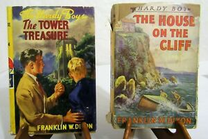 1927 HARDY BOYS 1st EDITION #1 & #2 TOWER TREASURE HOUSE ON CLIFF W DUST JACKET