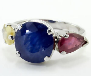 25-Cts 925 Sterling Silver,Natural Yellow,Blue Sapphire & Ruby FINE RING S.=6.50