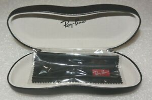 Genuine Ray Ban Hard Eyeglasses Sunglasses Case Black Leather & Cleaning Cloth