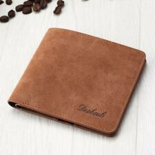 Men's Leather Bifold Wallet Slim Short Purse Card Holder Clutch Billfold Brown
