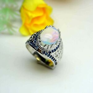 Ethiopian Opal Mens Ring With Blue Zircon,Heavy and Bold Design, Men's Opal Ring